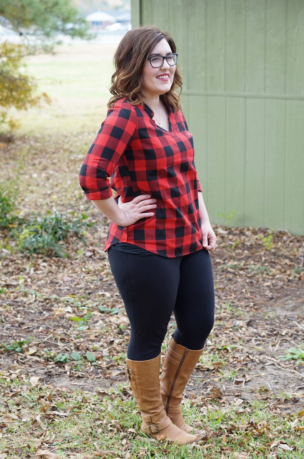 Rebecca Lately Dress Lily Buffalo Plaid Top Cory Vines Leggings Bare Traps Boots ONecklace Necklace