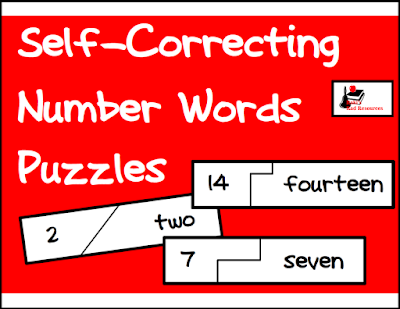 Free self correcting puzzle to help students read their number words - great for math and literacy centers - free download from Raki's Rad Resources
