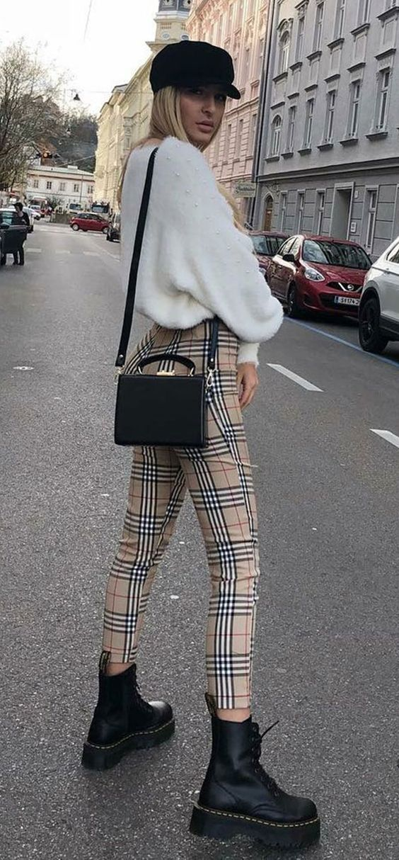 street style perfection / hat + white sweater + black crossbody bag + plaid pants + boots