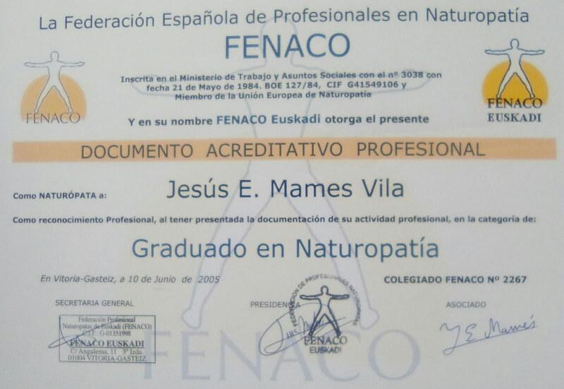 diploma de graduado en naturopatia
