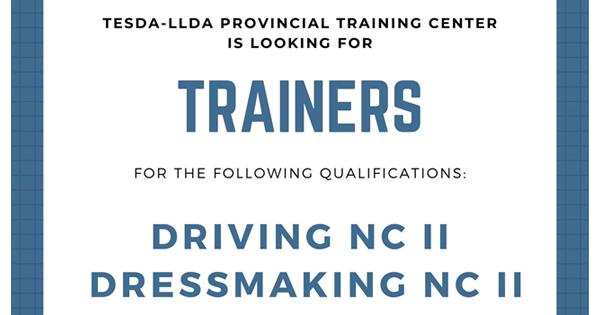 TESDA-LLDA PTC Looking Driving NC II & Dressmaking NC II Trainers