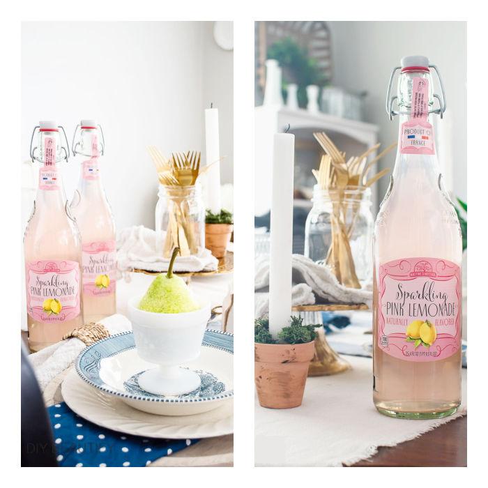 pink lemonade in glass bottles