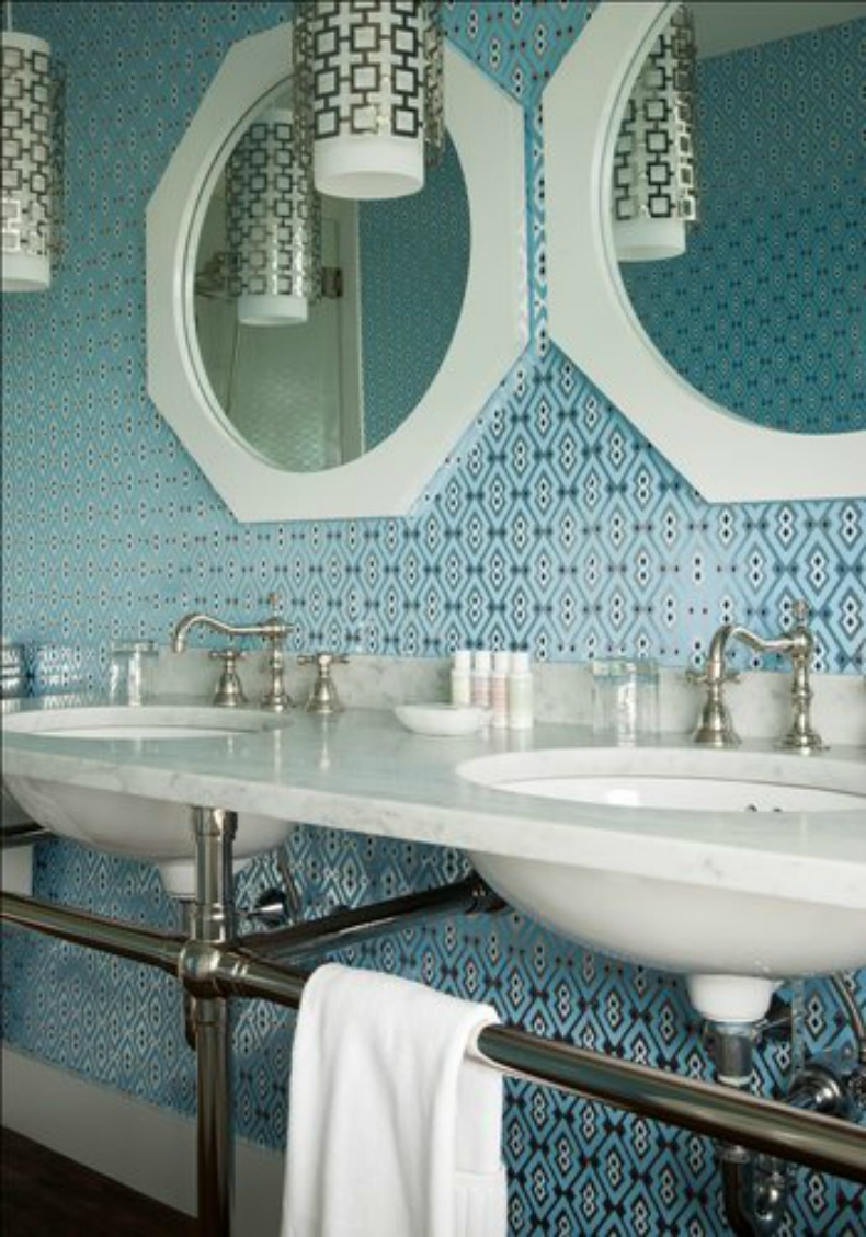 coastal, aqua wallpaper, jonathan adler