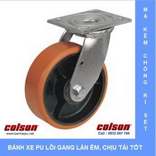Bánh xe PU lõi thép chịu tải trọng nặng 315kg | S4-4209-959 www.banhxepu.net