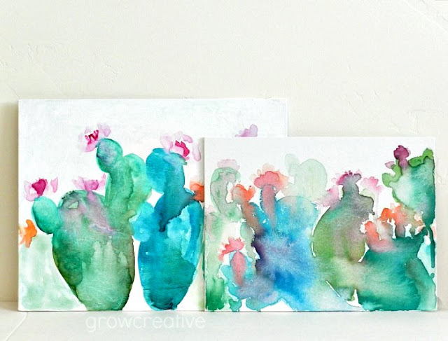 abstract watercolor cactus paintings on canvas: grow creative blog