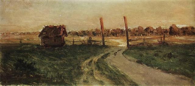 Исаак Ильич Левитан - Пейзаж с избушкой. 1899