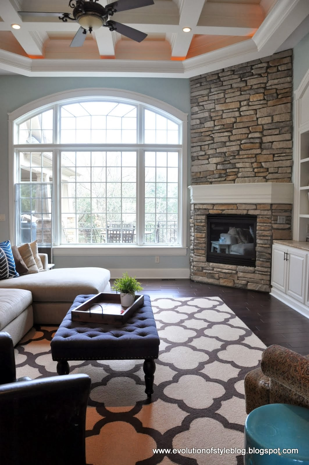 Diy stone fireplace reveal for real evolution of style - Living room with fireplace ...