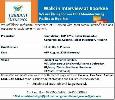 Jubliant Generics - Walk-in interview for Manufacturing on 3rd August, 2019