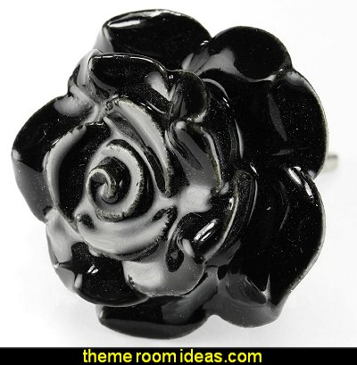 Black Rose Ceramic Knobs, Cupboard Drawer Pulls & Handles