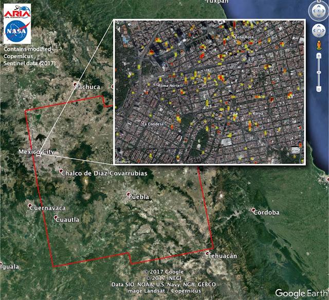 Imagens de satélite mostram a destruição no México após terremotos de setembro - NASA-JPL - Caltech - ESA - Copernicus - Google