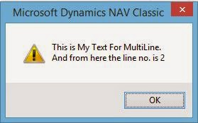 Navision - How to Display Multiple Lines In a Message