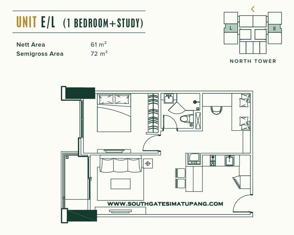 Floor Plan Unit 1 BR Apartemen Southgate Simatupang