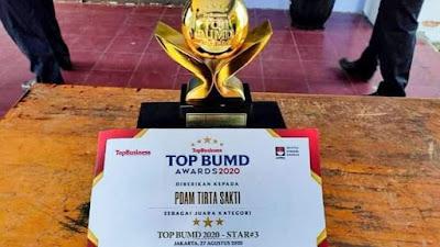 PDAM Tirta Sakti Raih Penghargaan TOP of the TOP BUMD 2020 Tingkat Nasional