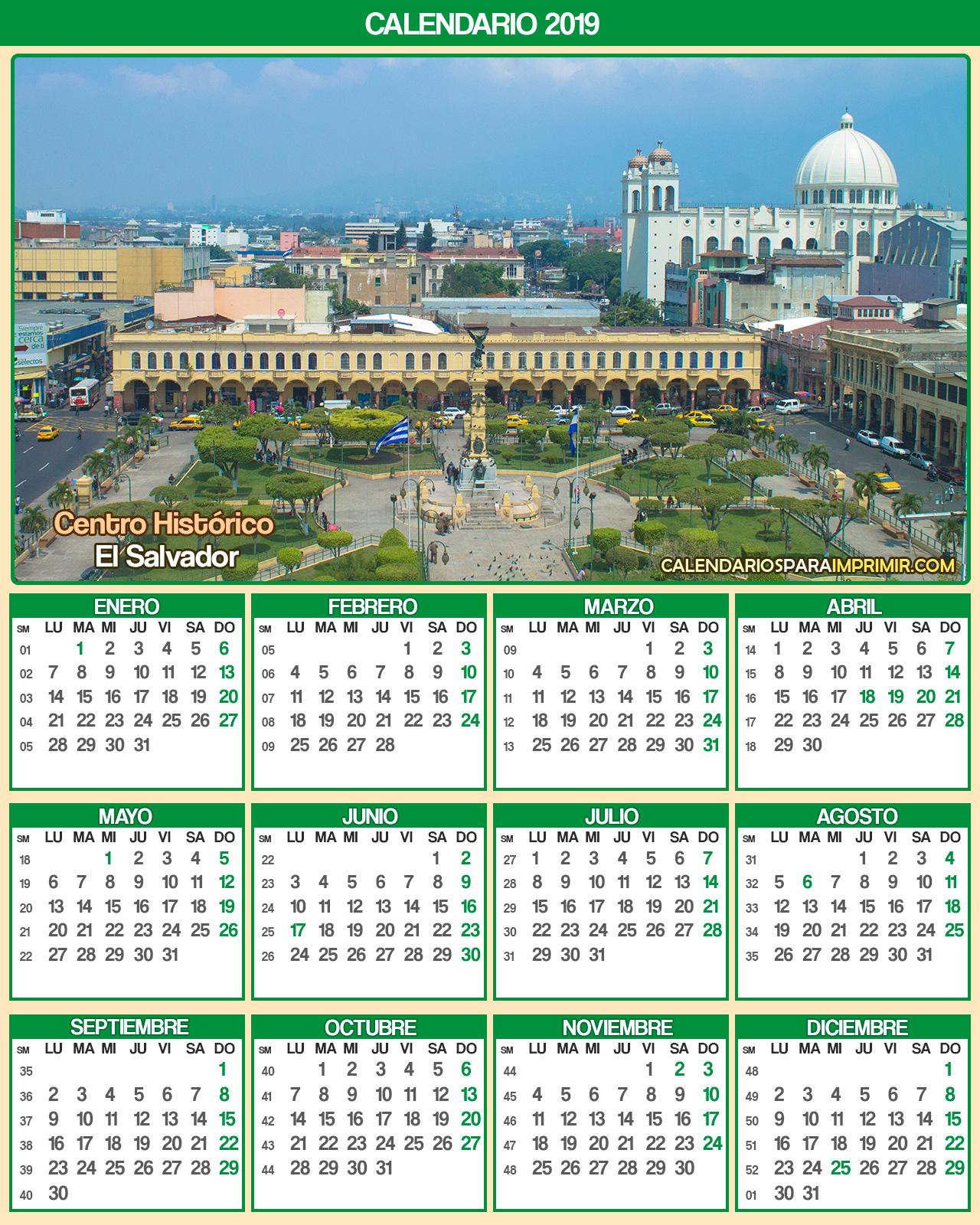 calendario el salvador 2019