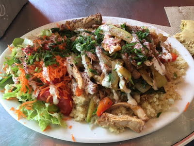 Mediterranean chicken plate with salad in Berkeley, CA
