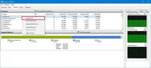 طريقة تحديد أكثر التطبيقات استهلاكًا للذاكرة في نظام ويندوز 10