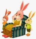 La televisión y los conejos entretenidos