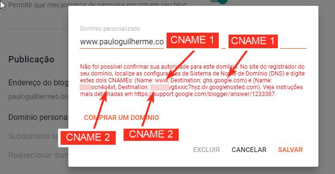 Informações de CNAMEs do Blogger