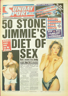 Front cover of the Sunday Sport newspaper with photo of model Vanessa Wilson