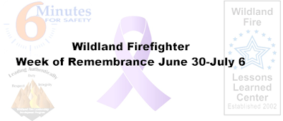 2017 Wildland Firefighter Week of Remembrance banner