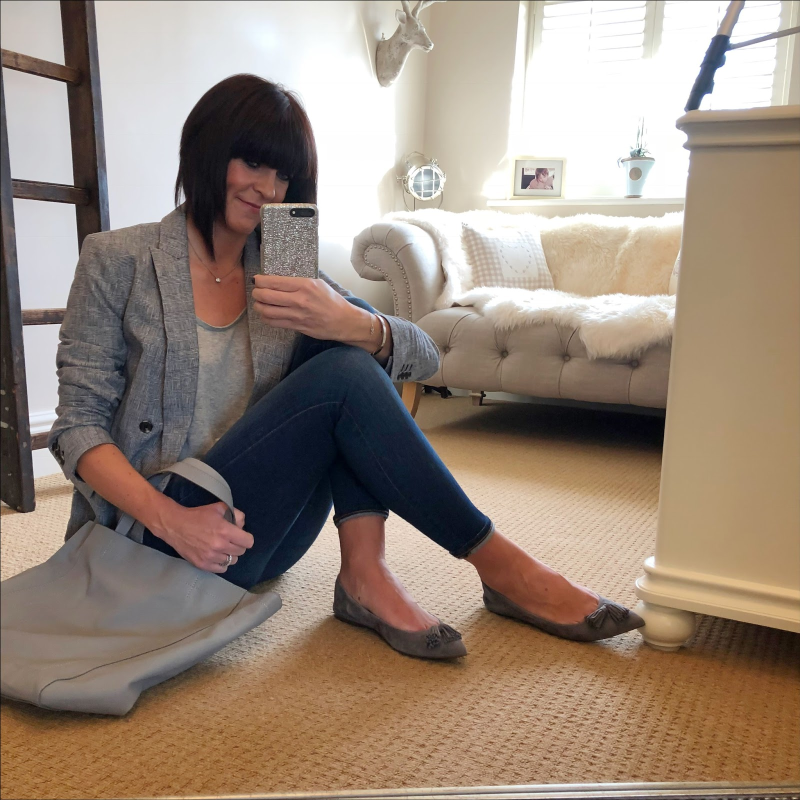 "my midlife fashion, marks and spencer linen blend checked long sleeve jacket, j crew 8"" toothpick jeans, j crew tassel flats, splendid scoop batwing t shirt, the white company leather shopper"