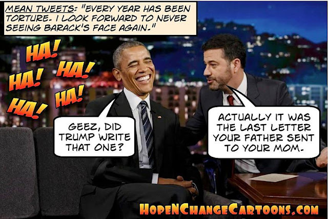obama, obama jokes, political, humor, cartoon, conservative, hope n' change, hope and change, stilton jarlsberg, mean tweets, jimmy kimmel, trump