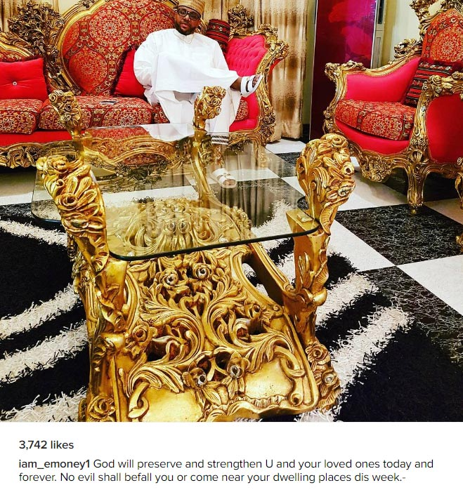Anambra billionaire E-money poses in his expansive sitting room