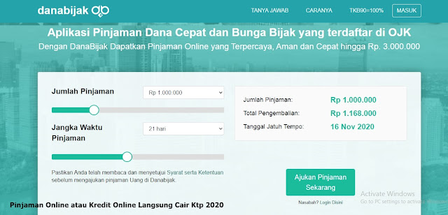 Pinjaman Online atau Kredit Online Langsung Cair Ktp 2020