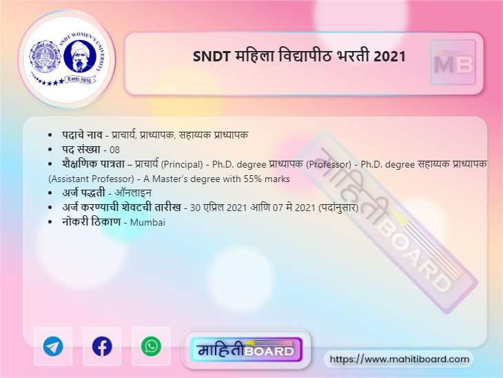 SNDT Womens University Recruitment 2021