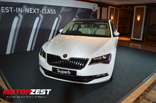White Skoda Superb India exterior