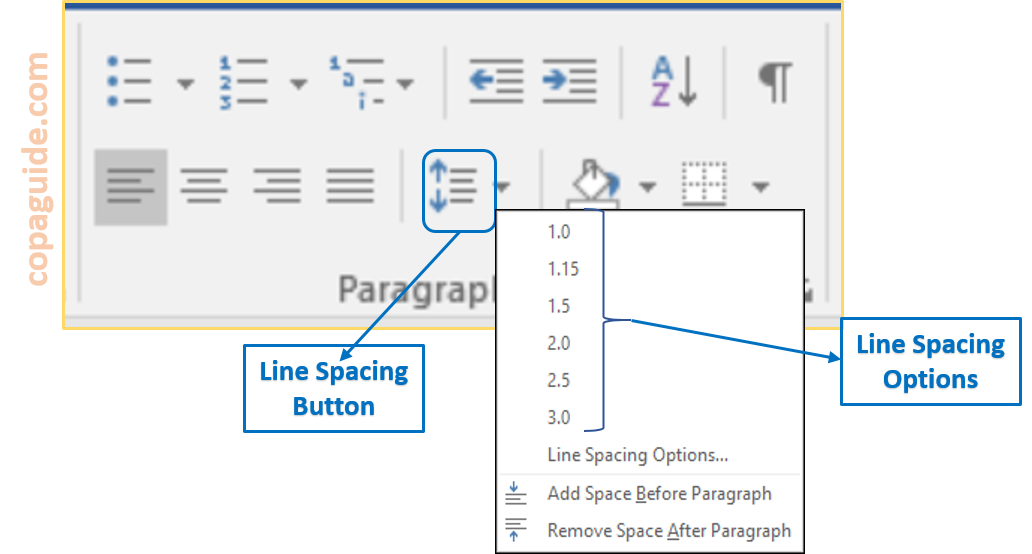 MS-Word Line Spacing Button