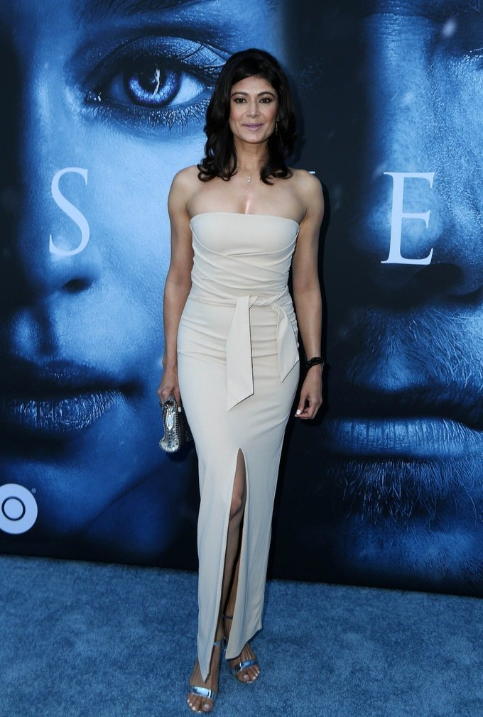 Pooja Batra At Premiere Of Game of Thrones In White Dress