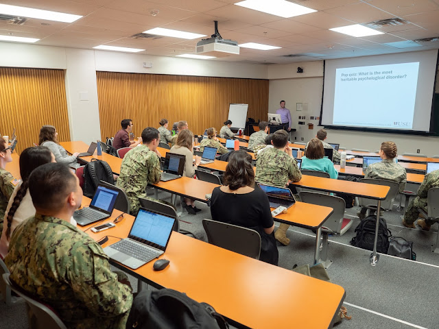 Dr. Joshua Gray, assistant professor of Medical and Clinical Psychology and Neuroscience, leads a class at the Uniformed Services University of the Health Sciences.  (Courtesy photo)