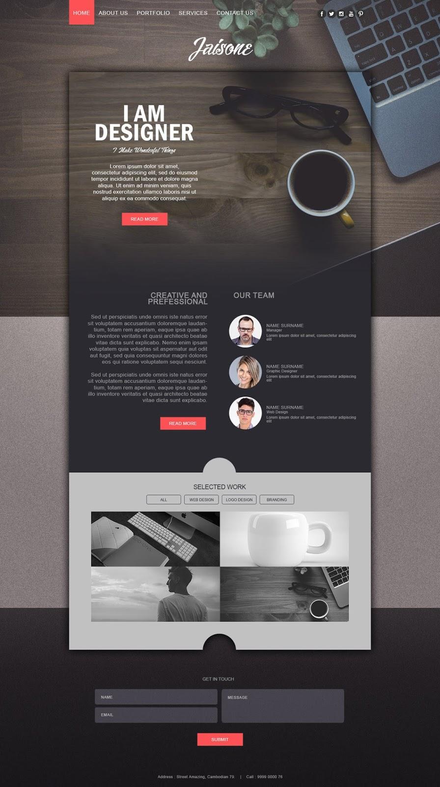 Make a Stylish Portfolio Website Design With Grain Texture In Photoshop