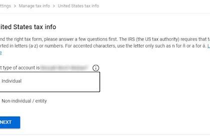 Tahapan Cara Input NPWP Pada Formulir Pajak W-8BEN dan Tarif Pemotongan Google Adsense