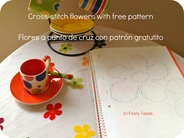 Flores a punto de cruz con patrón gratuito