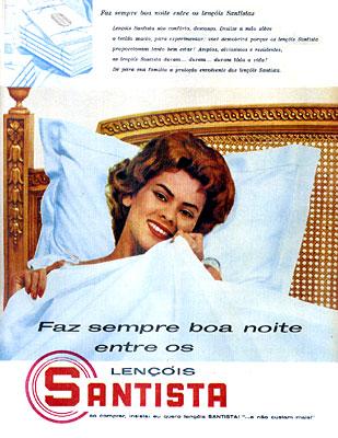 Propaganda dos Lençóis Santista nos anos 60 que promovia a qualidade do produto.