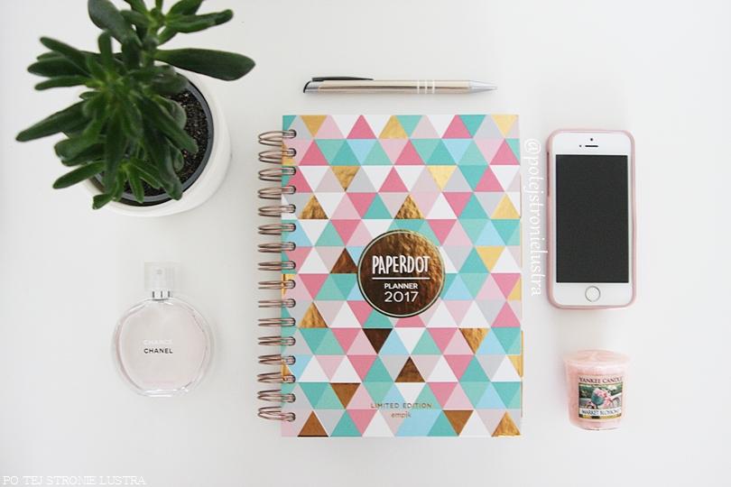 organizer, roślina, perfumy i iphone na białym biurku