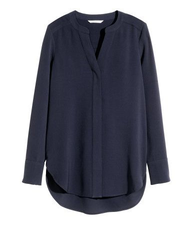Spring/Summer Capsule Wardrobe: Five Tops for Work from Honey and Smoke Studio // Crepe Blouse in dark blue from H&M