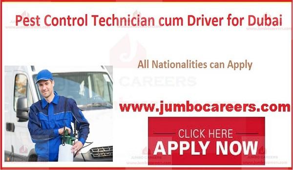 Pest Control Technician Cum Driver Jobs In Dubai