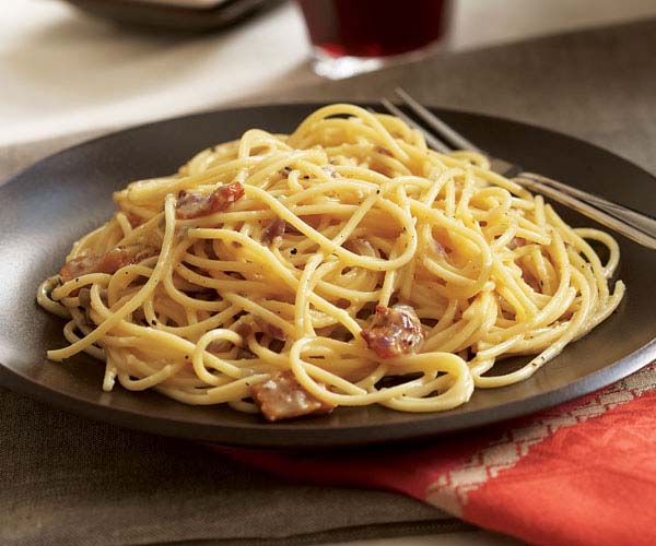 Carbonara with Black Forest Bacon and Arugula