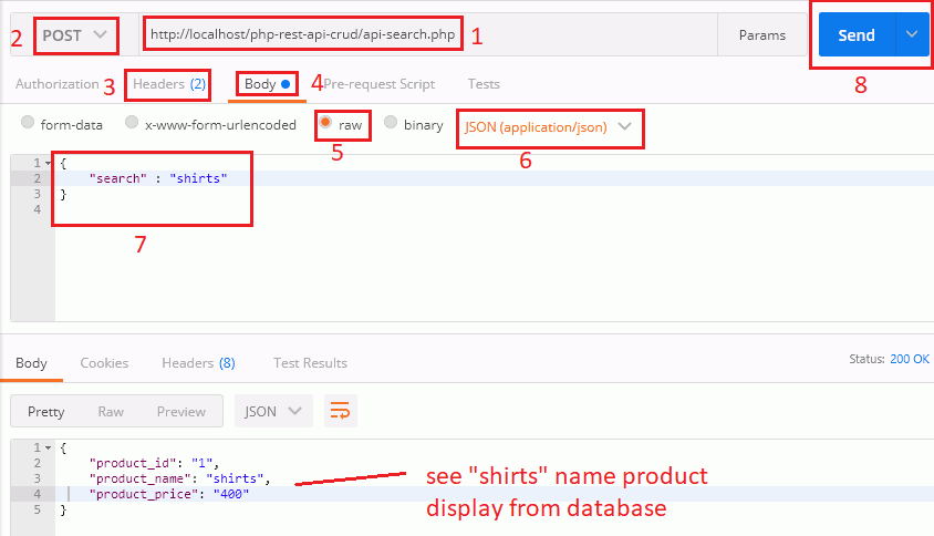 Search Product Name from Postman Tool