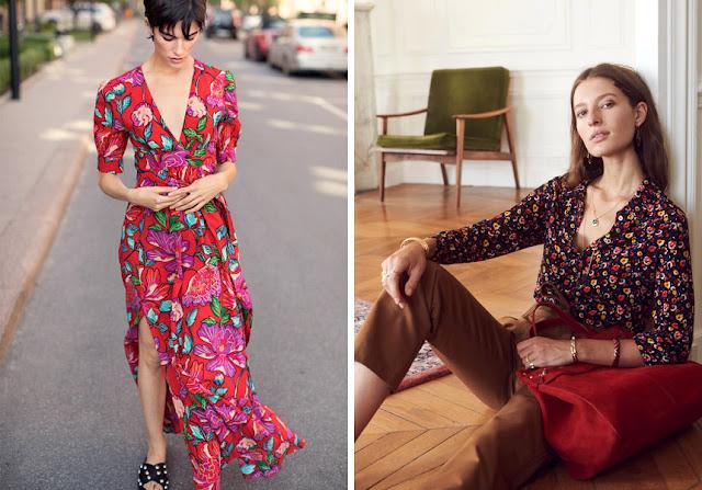 Брюнетки в платье и блузке с контрастным цветочным принтом