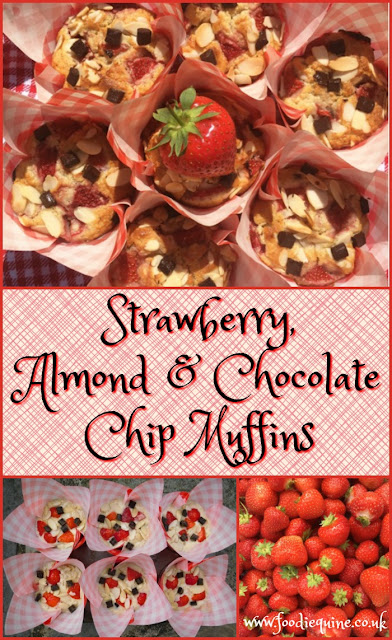 www.foodiequine.co.uk Fresh, delicious Scottish strawberries that taste and smell of summer combine with almonds and dark chocolate to make the perfect muffin. So quick and easy to make and perfect for breakfast, with a cuppa or as a dessert with a scoop of ice cream on the side.