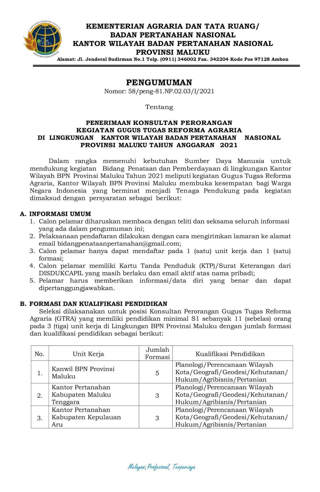 Lowongan Kerja Tenaga Pendukung Kementerian ATR/BPN Februari 2021