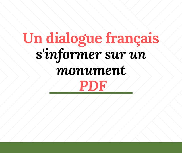 Un dialogue français entre deux élèves  s'informer sur un monument