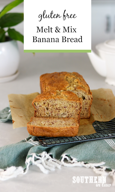 Easy Gluten Free Melt and Mix Banana Bread Recipe - healthy, low fat, pantry ingredients.