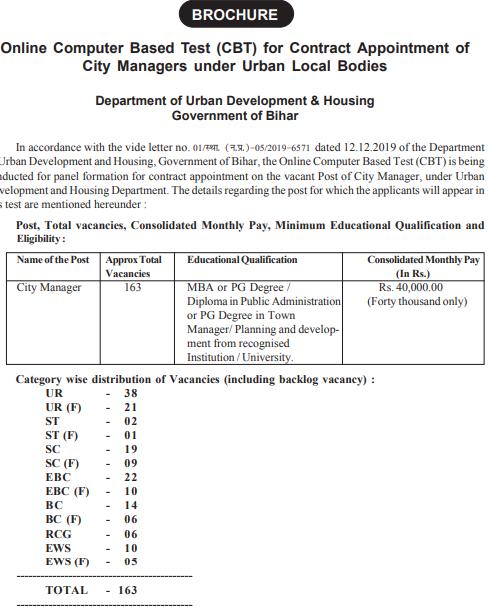 Bihar City Manager Vacancy 2020