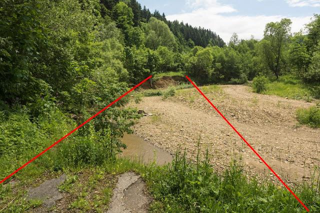 Erozja boczna - potok Stebnik - Bieszczady
