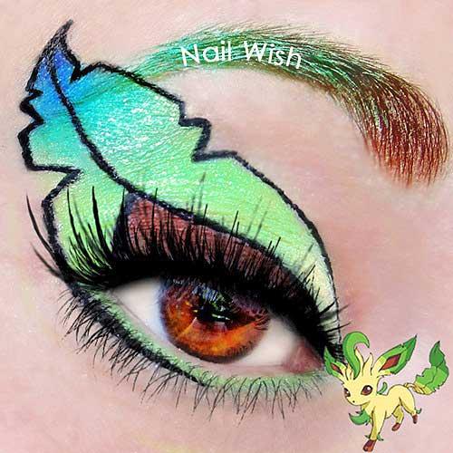 maquillaje ojos pokemon go : leafeon